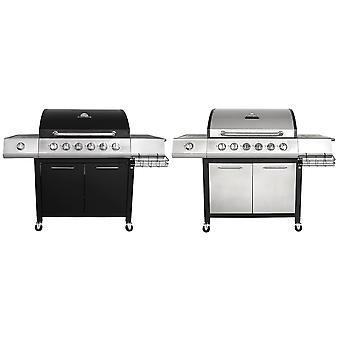 Charles Bentley 7 brûleur ignitable Premium gaz BBQ barbecue latéral avec couvercle thermomètre en noir et gris
