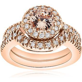 1 3/8 Ct Morganite - Diamond Engagement Ring Set 14K Rose Gold