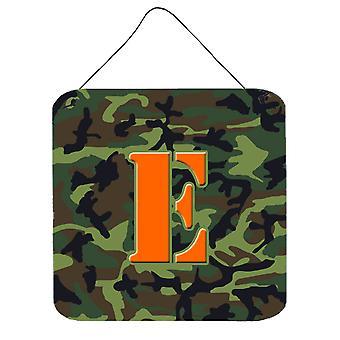 حرف E مونوغرام الأولية-التمويه حائط أخضر أو باب شنقاً يطبع