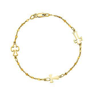 Grânulo de cadeia de cabo amarelo ouro 14K e bracelete Cruz, 7