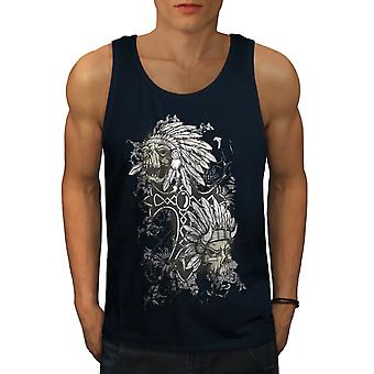 Evil Indian Head Skull Men NavyTank Top | Wellcoda