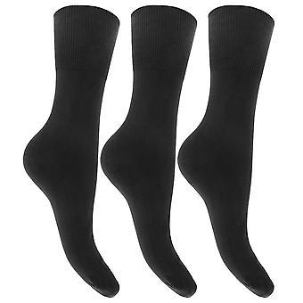 レディース/レディース プレーン コットンの豊富な非弾性トップ靴下 (3 パック)