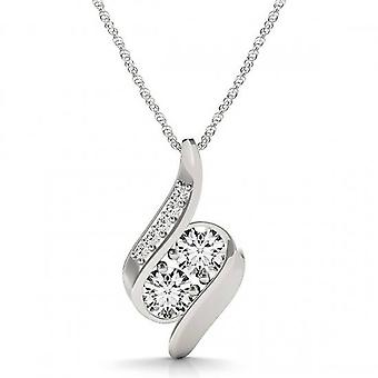 1ct Forever Us Two Stone Natural Diamond Pendant Necklace 18