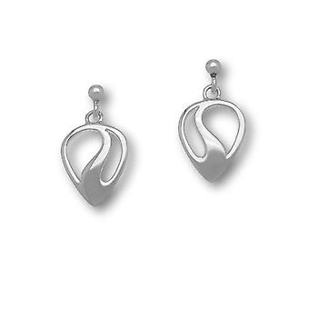 Sterling Silver Traditional Contemporary Modern Etive Design Pair of Earrings - E1547