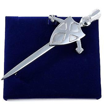 Scotland Flag Sword and Shield Pewter Kilt Pin