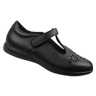 Girls black leather T-Bar school shoes