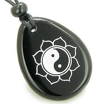 Magic Ying Yang en Lotus zon cirkel Amulet Zwarte Onyx geluk wens stenen ketting