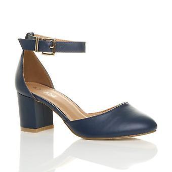 Womens Ajvani bas mi bloc talon cheville strap sandales de chaussures mary jane Cour