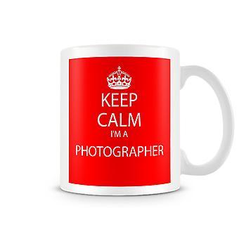 Halten Sie Ruhe, ich bin ein Fotograf bedruckte Becher rot