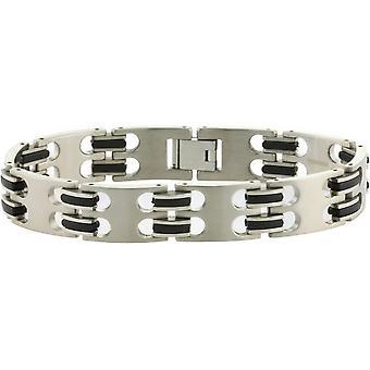Ti2 Titanium Wide Bracelet - Silver/Black