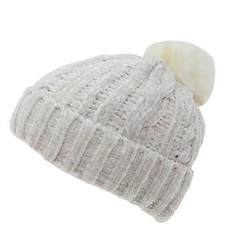 Foxbury Womens/Ladies Chenille Hat With Faux Fur Bobble