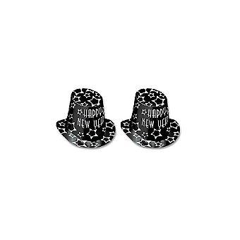 Musta ja hopea onnellista uutta vuotta pahvi Top Hat - 10
