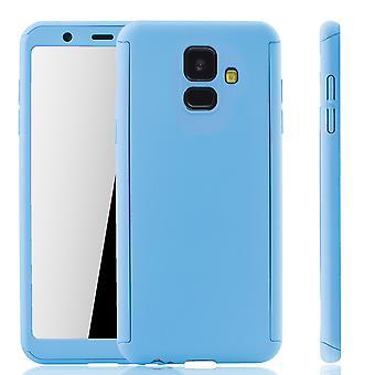 Samsung Galaxy A6 2018 caja móvil de protección caja de cubierta completa de protección cristal azul tanque ligero