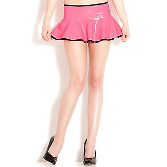 Skin Two Clothing Women's Sexy Kinky Skirt in Latex Rubber Black & Pink