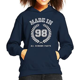 Made In 98 All Genuine Parts Kid's Hooded Sweatshirt