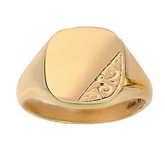 9ct arany 15x16mm tömör kézzel vésett párna Signet Ring méret Z