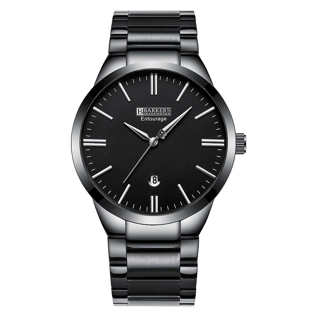 Barkers of Kensington Entourage Steel - Silver and Black Elegant Mens  Steel Watch