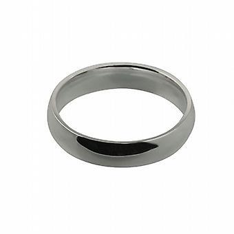 9ct oro blanco 5mm liso corte en forma de anillo de boda tamaño U
