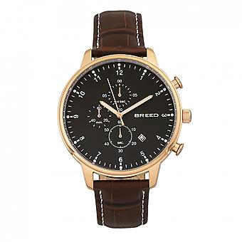 Breed Holden Chronograph Leather-Band Watch w/ Date - Rose Gold/Brown