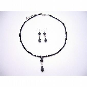 مجموعة مجوهرات بلورات سوداء جت سواروفسكي مجموعة أقراط فضة قلادة