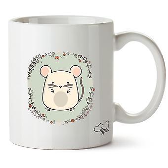 Hippowarehouse rato bonitinho impresso caneca copo cerâmico 10oz