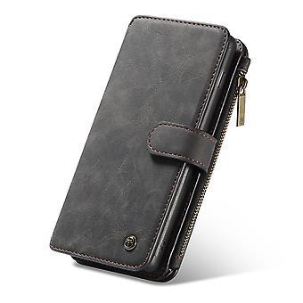CASEME Samsung Galaxy S10 - Portefeuille en cuir rétro Case-Noir