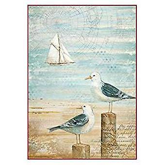 Stamperia Rice Paper A4 Sea Land Seagulls (DFSA4283)