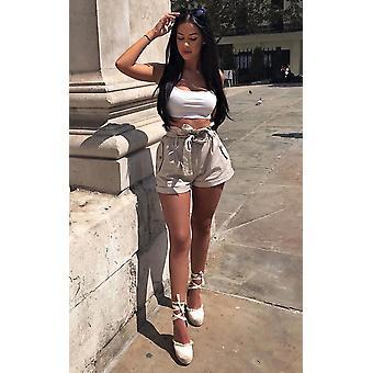 IKRUSH Womens Lindy High Waist Chino Shorts