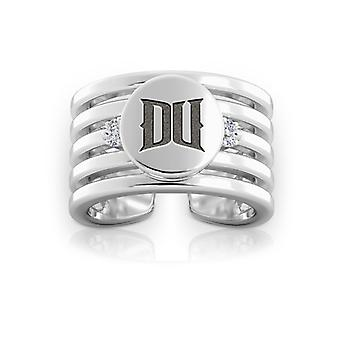 Drexel University Engraved Sterling Silver Diamond Multiband Cuff Ring