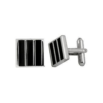 Eternal Collection Berkeley Black Enamel Striped Square Silver Tone Cufflinks