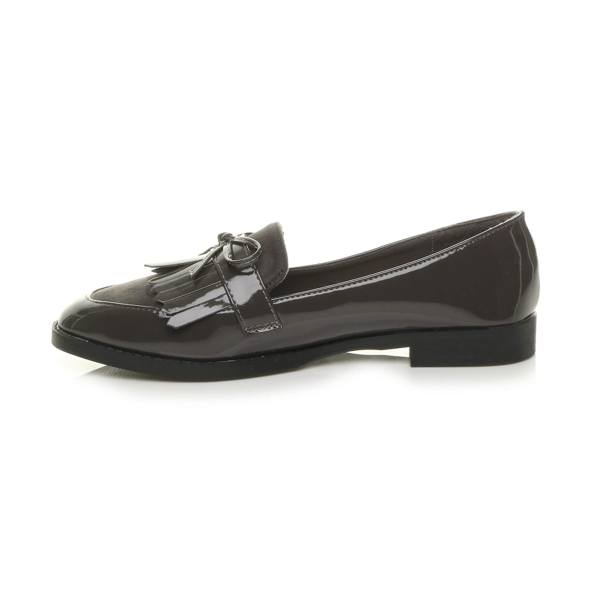 Ajvani Womens Flat Low Heel Smart Casual Slip On Fringe Loafers Work Shoes