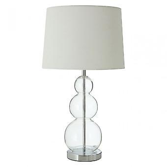 Premier Home Luke Table Lamp, Fabric, Glass, Silver