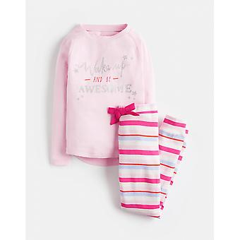 Joules Junior Sleepwell Jersey Girls Pyjama Set - Pink Marl Awesome
