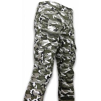 Ripped Jeans - Slim Fit Biker Jeans Side Pocket - Wit