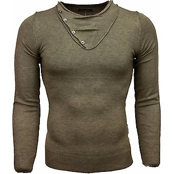 Casual sweater-Trendy collar Design buttons Men-Brown