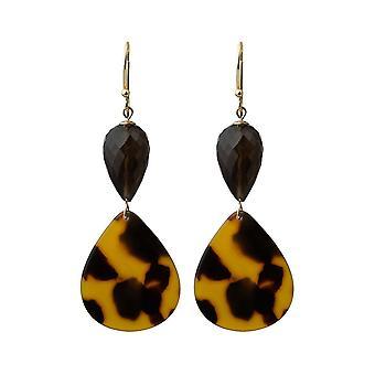 Gemshine Ohrringe vergoldete Ohrhänger Rauchquarz, Schildplatt / Resin
