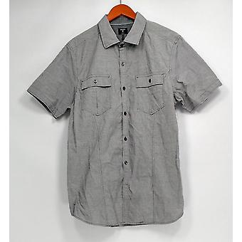 Union Button-Front Shirt Short Sleeve Striped Gray