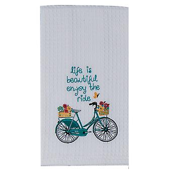 Kay Dee Blue Bike Enjoy the Ride Embroidered Waffle Weave Kitchen Dish Towel
