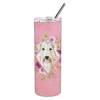 Wheaten Terriër roze bloemen dubbelwandige roestvrijstaal 20 oz mager tuimelaar
