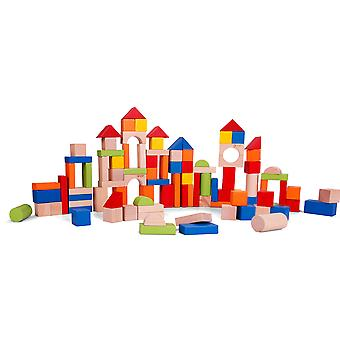 Classic World - 100 Piece Wooden Building Blocks Set Educational Toys for Kids, Sorting and stacking