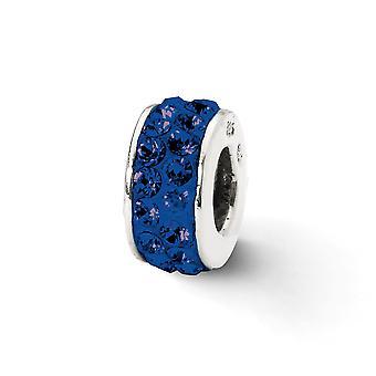 925 sterling sølv poleret refleksioner mørkeblå dobbelt række krystal perle charme