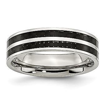 Rostfritt stål platta Band Engravable 6mm dubbel rad svart kolfiber beläggning polerad Band Ring - Ring storlek: 6-12