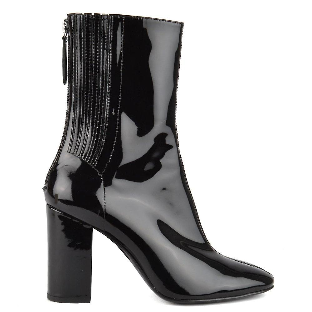 Ash JASMIN Heeled Boots Black Patent Leather p3glB