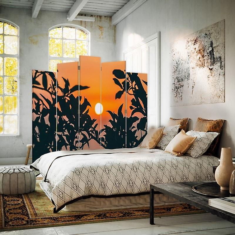 Diviseur de pièce décoratif, 5 panneaux, toile, soleil pour des usines