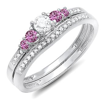 Dazzlingrock Collection 14K Round Pink Sapphire And White Diamond 5 Stone Bridal Engagement Ring Set, White Gold