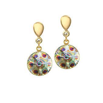 Eternal Collection Rivoli Peacock Eye Autrichien Crystal Gold Tone Drop Screw Back Clip On Earrings