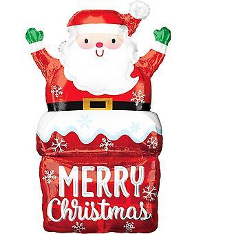 Anagrama Navidad Santa en chimenea Supershape Foil Globo