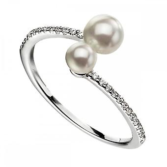 Beginnings  Sterling Silver Double Pearl Micropave Zirconia Shank Ring R3601W