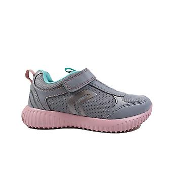 Geox Waviness J946DC Gris/Rose Pink Girls Bungee Lace/Rip Tape Trainers