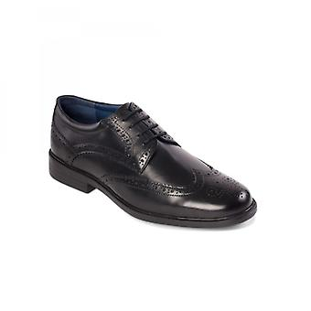 Padders Berkeley Mens Leather Wide (g Fit) Brogue Shoes Black
